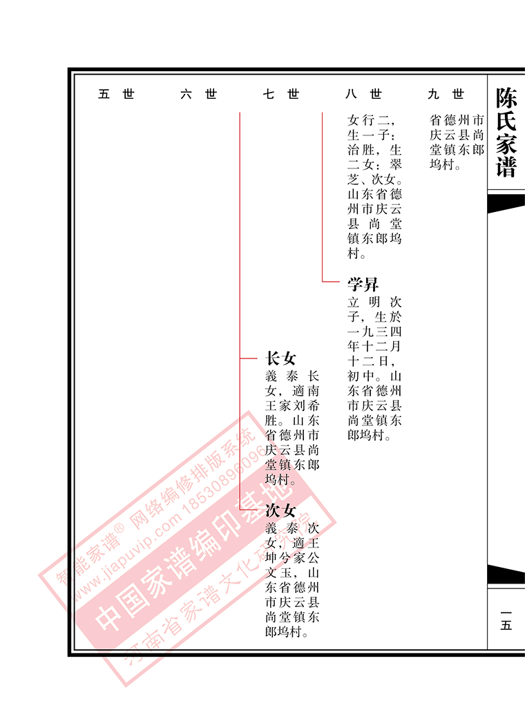 b3:现代苏式(横排)_河南省家谱文化研究院图片